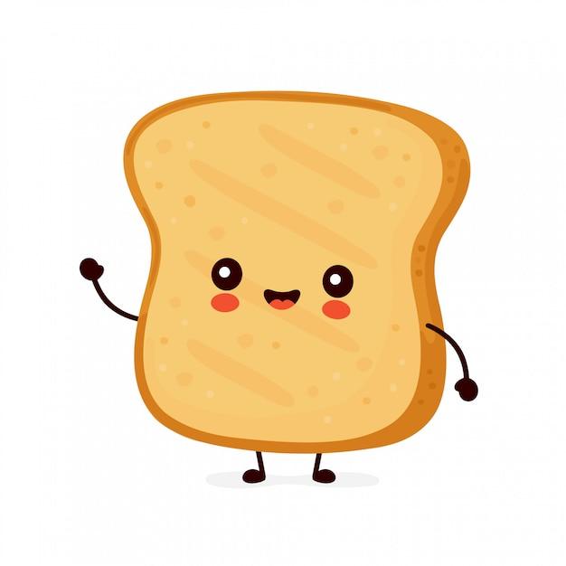 かわいい幸せな面白いトースト。 Premiumベクター