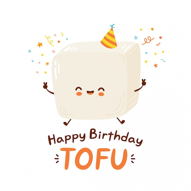 Cute happy funny tofu. cartoon character hand drawing style illustration. isolated on white background. happy birthday card Premium Vector