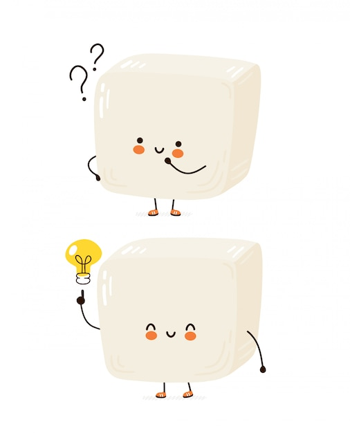 Cute happy funny tofu. cartoon character hand drawing style illustration. isolated on white background Premium Vector