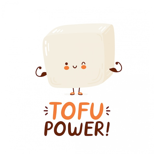 Cute happy funny tofu show muscle. cartoon character hand drawing style illustration. isolated on white background. tofu power card Premium Vector