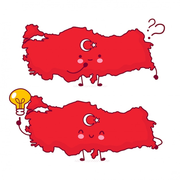 Cute happy funny turkey map and flag character with question marks and idea light bulb. Premium Vector