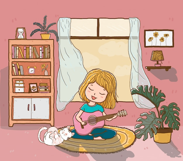 Cute happy girl plays guitar with a playful fluffy cat in sun lighted living room, outline doodle drawing flat Premium Vector