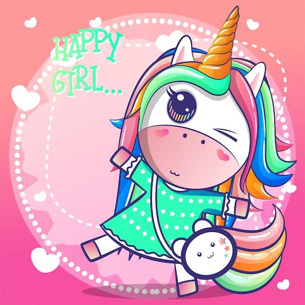 Cute happy girl unicorn cartoon Premium Vector