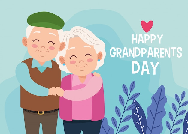 Cute happy grandparents couple and lettering with heart Premium Vector