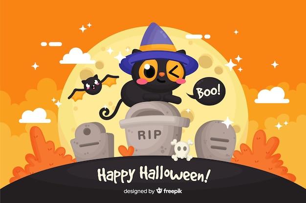 Cute happy halloween decorative background Free Vector