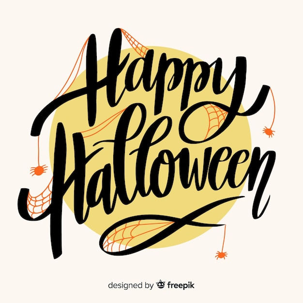 Cute happy halloween lettering Free Vector