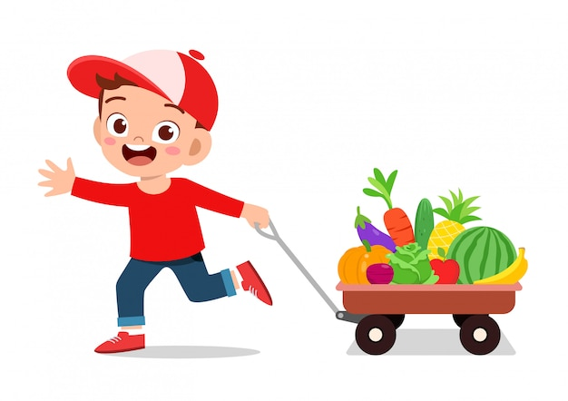Cute happy kid buying fruits and vegetables Premium Vector