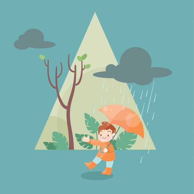 Cute happy kid on the rainy season vector illustration Premium Vector