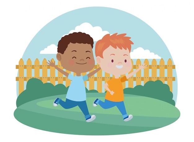 Cute Happy Kids Having Fun Cartoons Premium Vector