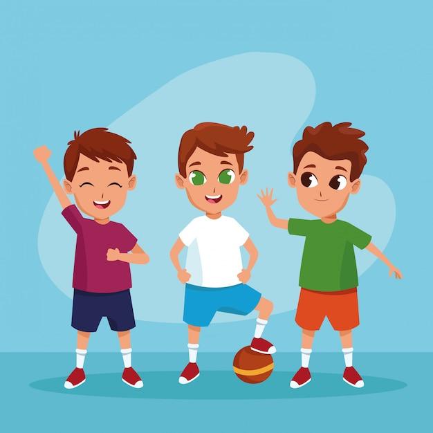 Cute happy kids smiling cartoons Free Vector