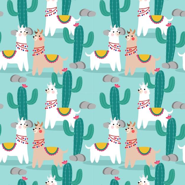Cute happy llama and cactus seamless pattern. Premium Vector