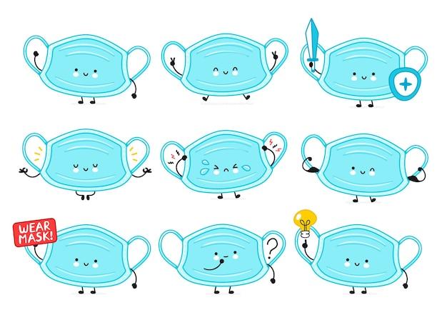 Симпатичная счастливая коллекция символов медицинской маски для лица. значок иллюстрации персонажа мультфильма каваи. Premium векторы