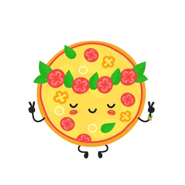 かわいい幸せな瞑想ベジタリアンピザのキャラクター。ベクトルフラット漫画イラストアイコンデザイン。孤立。ピザのキャラクターのコンセプト Premiumベクター