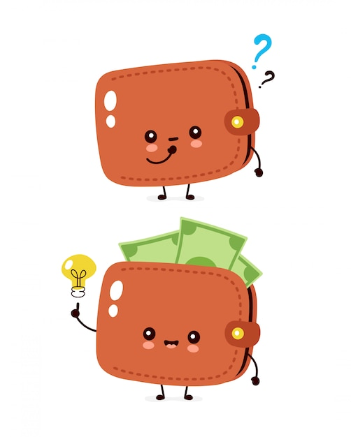 premium vector cute happy money banknote wallet with question mark and light bulb flat cartoon character illustration icon isolated on white wallet https www freepik com profile preagreement getstarted 6653653
