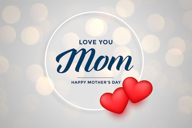 Cute happy mother's day background with hearts Free Vector