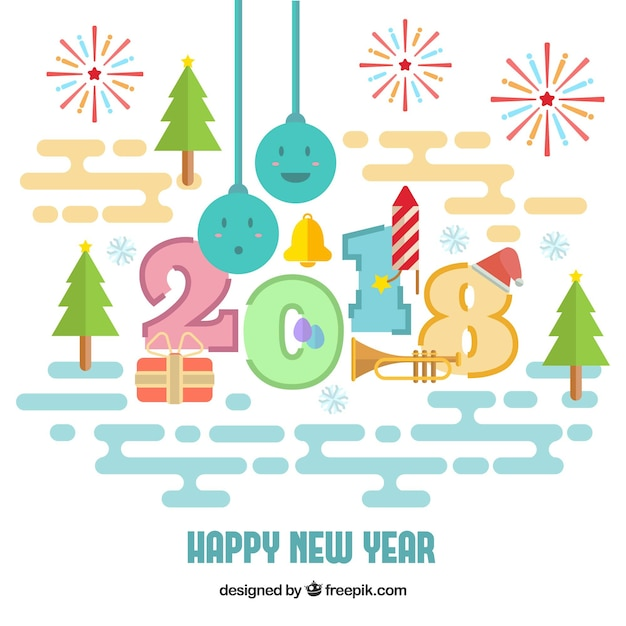 cute happy new year background free vector