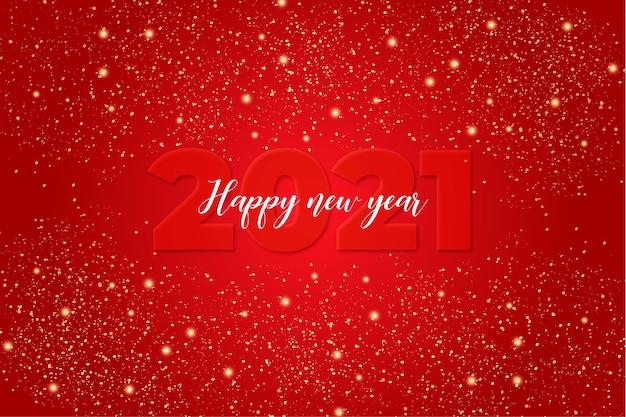 Carta di felice anno nuovo carino con sfondo rosso con luci Vettore gratuito
