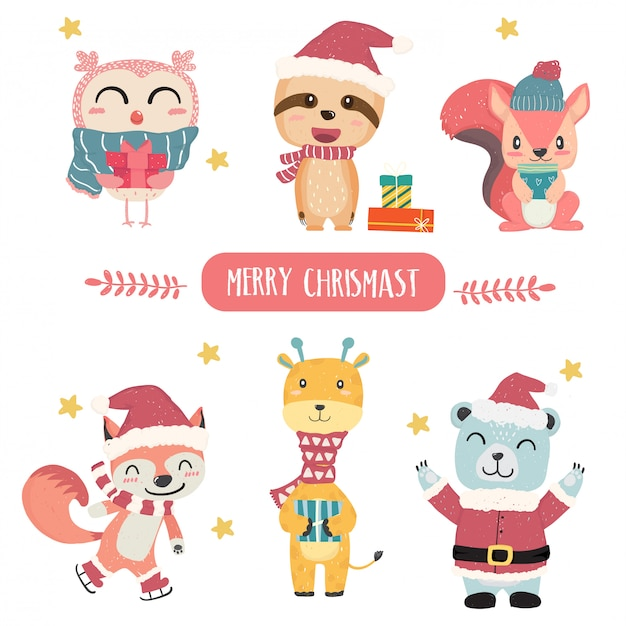 Cute happy pastel animal merry christmas theme collection flat vector Premium Vector