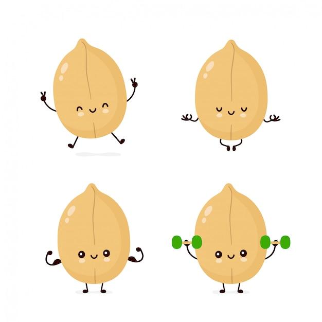 Симпатичные счастливые символы арахиса установлены Premium векторы