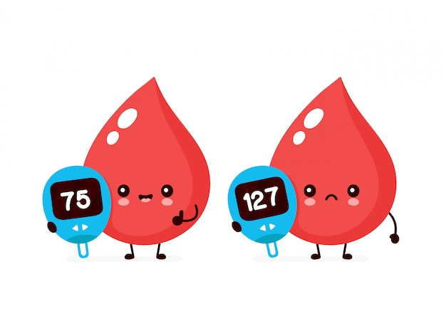 Cute happy and sad blood drops with glucose measuring device Premium Vector