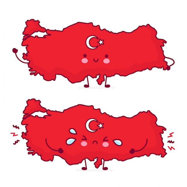 Cute happy and sad funny turkey map and flag character. Premium Vector