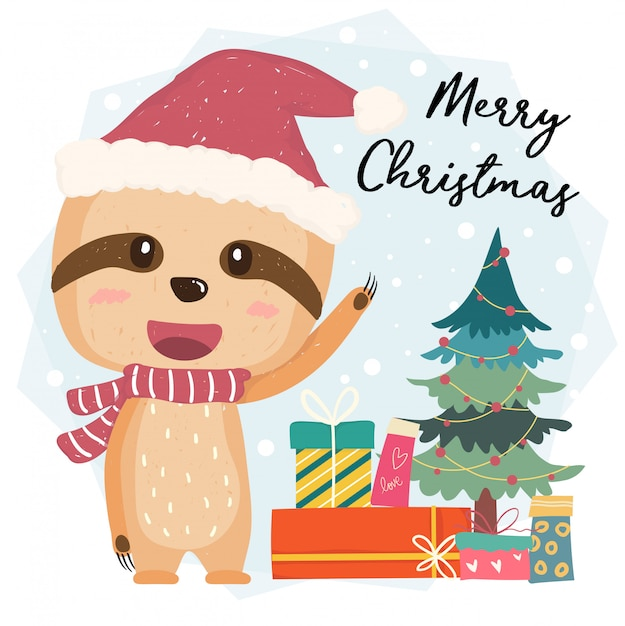 Cute happy sloth flat vector with gift boxes and christmas tree in santa hat, merry christmas Premium Vector