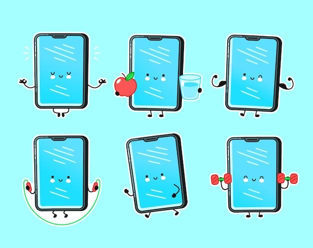 귀여운 행복 스마트 폰, 휴대 전화 피트니스 문자 집합 컬렉션. 벡터 플랫 라인 만화 귀여운 캐릭터 그림 아이콘입니다. 외딴. 피트니스 스마트 폰 번들 프리미엄 벡터