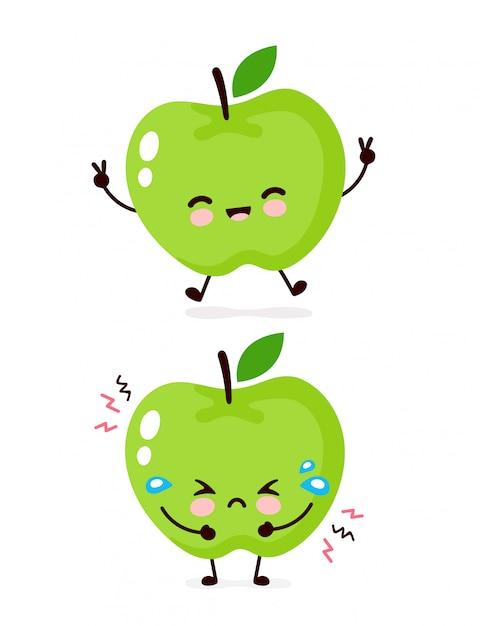 かわいい幸せな笑顔と悲しい泣くリンゴ文字 フラット漫画イラストアイコンデザイン 白い背景で隔離されました アップルキャラクターコンセプト プレミアムベクター