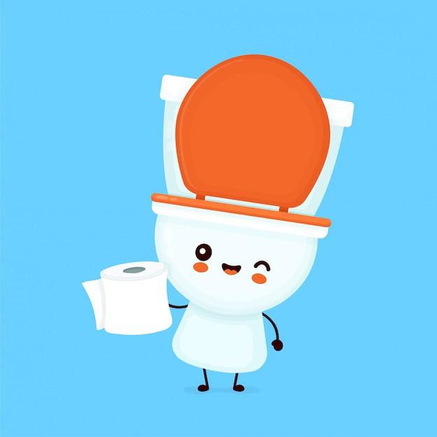 Симпатичные счастливые улыбающиеся чаши держать туалетной бумаги. Premium векторы