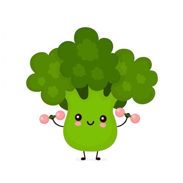 premium vector cute happy smiling broccoli vegetable with dumbells https www freepik com profile preagreement getstarted 7056462