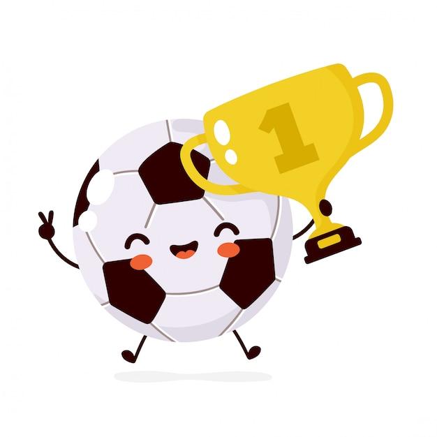 Мило счастливый улыбающийся футбольный мяч с характером золотой трофей. плоский мультфильм иллюстрации значок. изолированные на белом. персонаж футбольного мяча Premium векторы