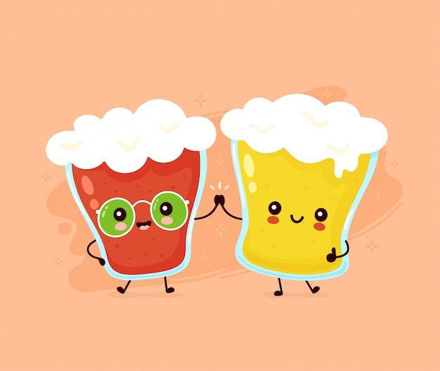 Cute happy smiling glass of beer friends couple. Premium Vector
