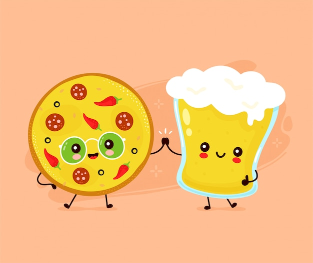 Cute happy smiling glass of beer and pizza. Premium Vector