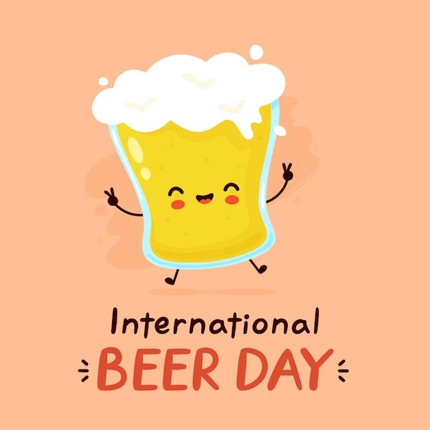 プレミアムベクター かわいい幸せなビールのグラス フラット漫画キャラクターイラストアイコンデザイン 国際ビールデーカード