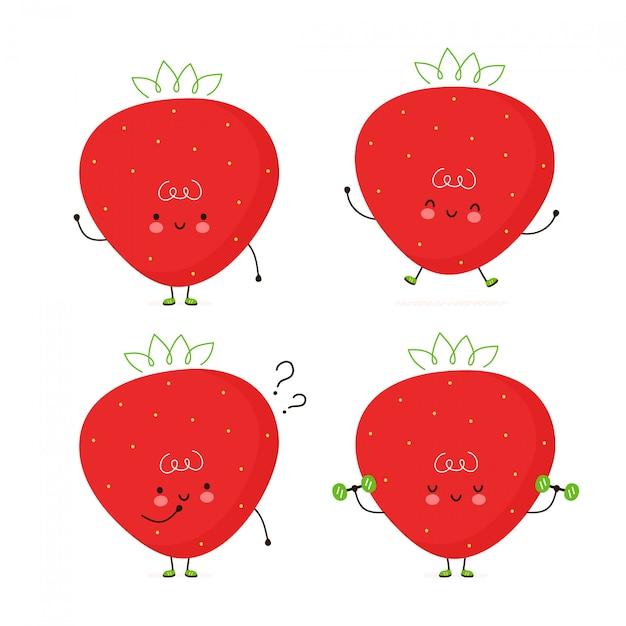 プレミアムベクター かわいい幸せイチゴ果実セット 白で隔離 ベクトル漫画キャラクターイラスト デザイン シンプルなフラットスタイル ストロベリーキャラクターバンドル コレクションコンセプト