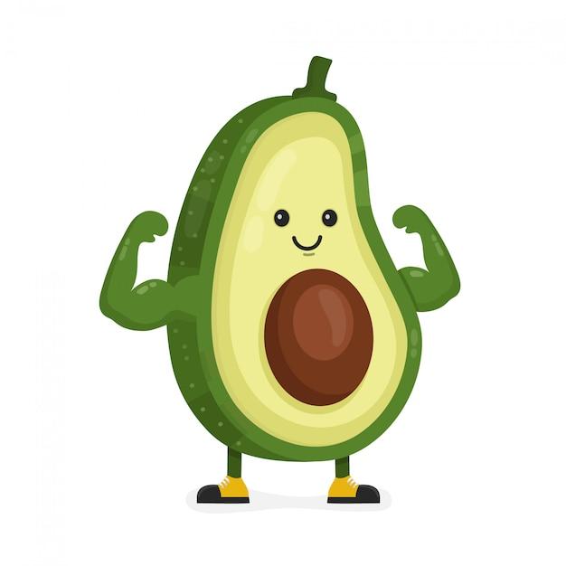 Милый счастливый сильный улыбающийся авокадо показывает мышцы бицепса. Premium векторы