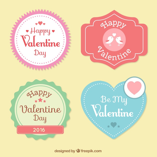 Cute Happy Valentine Day Labels Vector | Premium Download