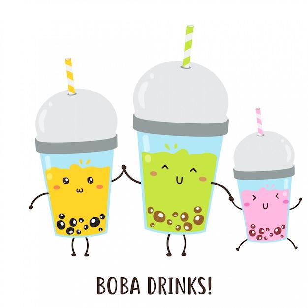 Симпатичные счастливые различные боба напитки векторный дизайн Premium векторы