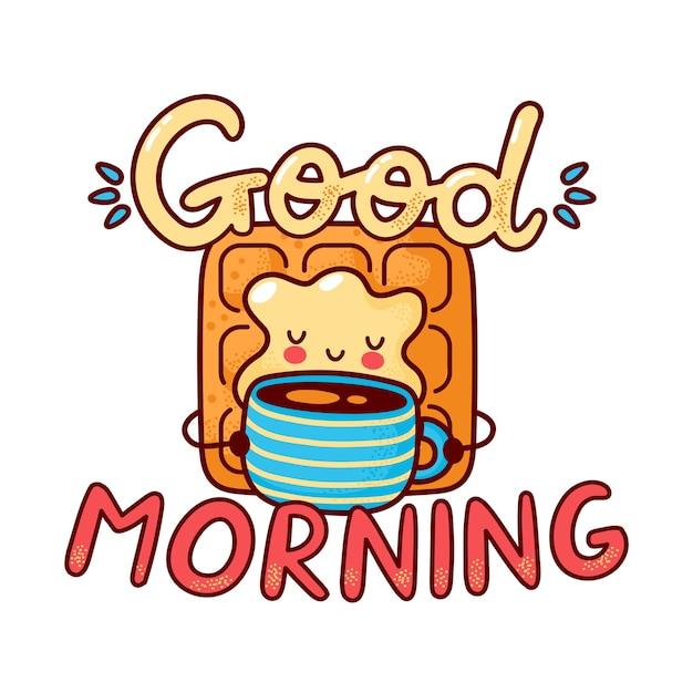 Милый счастливый вафельный напиток кофе. плоская линия мультяшного персонажа каваи. нарисованная рукой иллюстрация стиля. изолированные на белом фоне. доброе утро открытка, концепция вафли и кофе Premium векторы