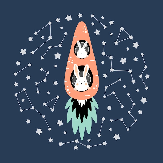 Cute hares on a carrot rocket in space Premium Vector