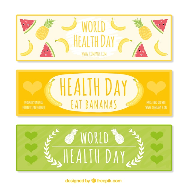 Cute health day banners