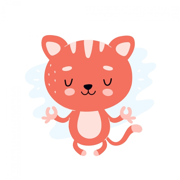 Cute Healthy Happy Cat Meditate In Lotus Yoga Pose Vector Flat Cartoon Illustration Character Design Isolated On White Kitty Relax Character Concept Premium Vector