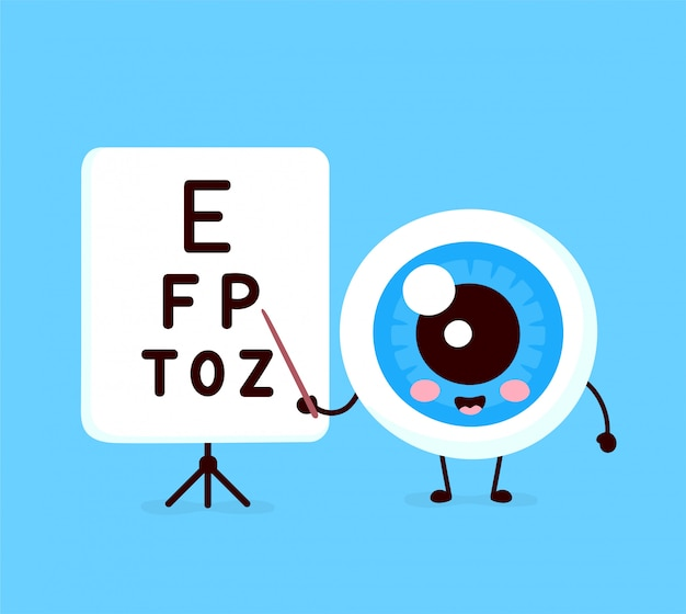 Cute healthy happy human eyeball organ points to the table for testing visual acuity character. Premium Vector