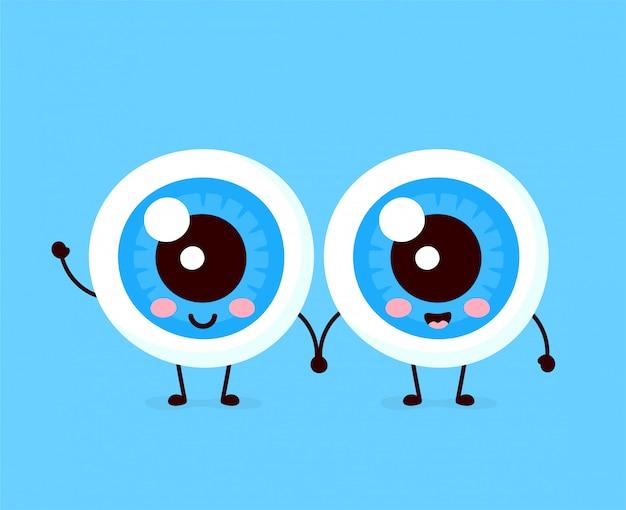 Cute healthy happy human eyeballs couple character. Premium Vector