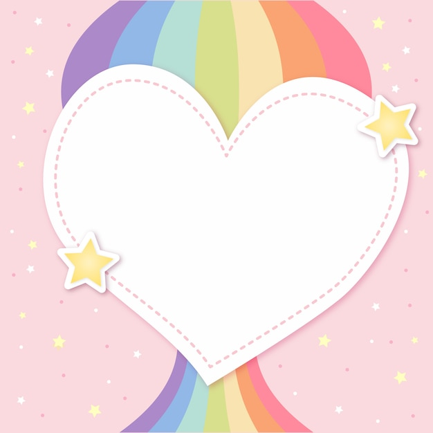 Cute heart layout with pride rainbow Free Vector