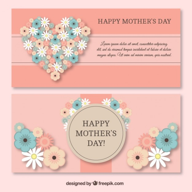 Cute heart made up of flowers mother\'s day\ banners