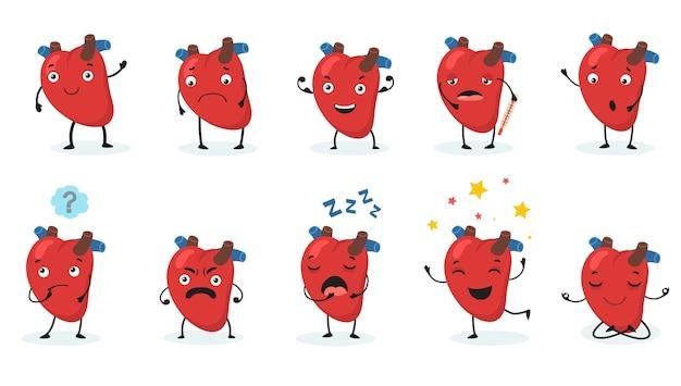 かわいいハートセット。顔とさまざまな感情、幸せ、悲しみ、怒り、病気、健康的な漫画のキャラクターを持つ人間の臓器。 v 無料ベクター