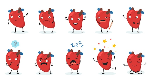 Cute heart set. human organ with face and different emotions, happy, sad, angry, sick and healthy cartoon character. v Free Vector