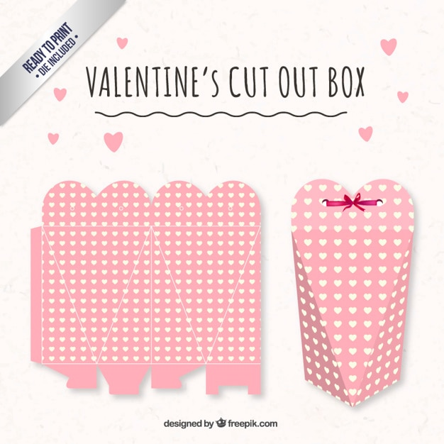 Cute heart valentines day box Vector   Free Download