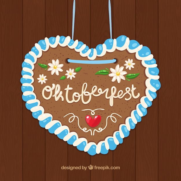 Cute heart with flowers to celebrate oktoberfest Free Vector